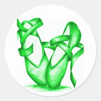 Green Ballet Slippers Classic Round Sticker
