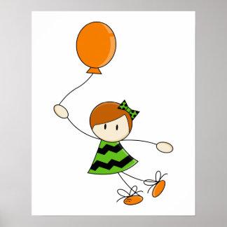 Green Balloon Girl Canvas Poster