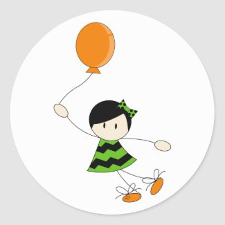 Green Balloon Girl Sticker sticker