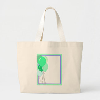 Green Balloons Large Tote Bag