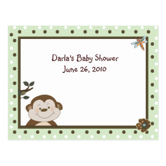 Green Bambino Monkey Baby Shower Advice Cards