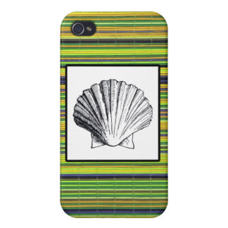 Green Bamboo and Clam Seashell iPhone 4 Cover