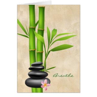 Green Bamboo Black Meditation Stones Breathe Card