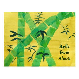 Green Bamboo Grove Yellow Background Nature Grass Postcard