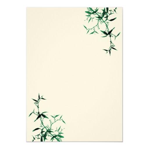 "Green Bamboo Invitation 5"" X 7"" Invitation Card"