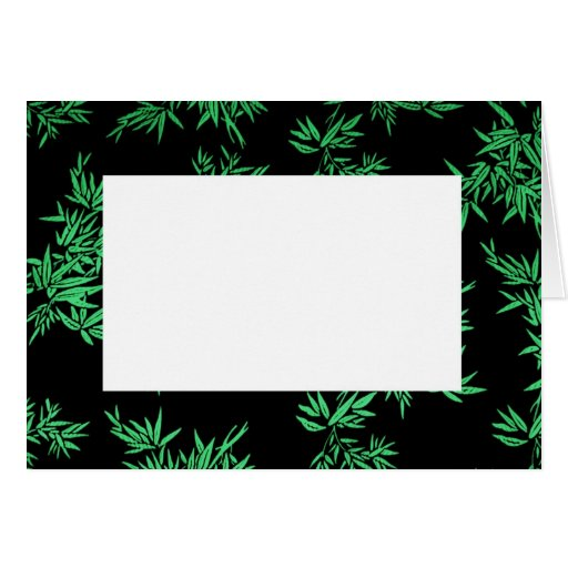 Green Bamboo Leaves Border Note Card