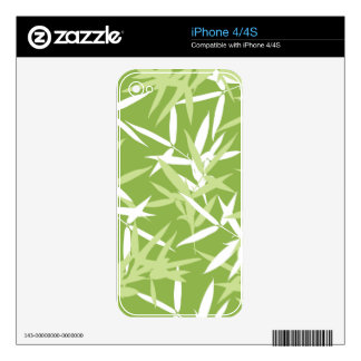 Green Bamboo Leaves Unique Pattern Decal For The iPhone 4S