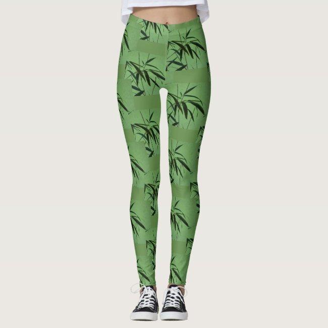 Green Bamboo Pattern Legging