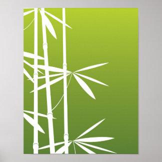 Green Bamboo Stalk Poster