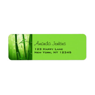 Green Bamboo With Pale Bokeh Lights In The Back Label