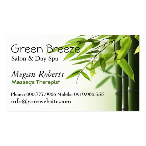 Green Bamboos Spa Skin Care Massage Salon Business Cards