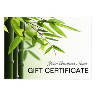 Green Bamboos Spa Skin Care Salon Gift Certificate Large Business Card