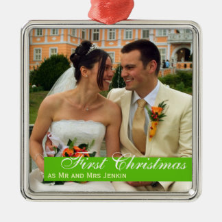 Green band couple first Christmas square photo Metal Ornament