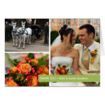 Green band modern 3 photo montage thank you note stationery note card