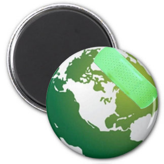 Green Bandaided Earth 2 Inch Round Magnet