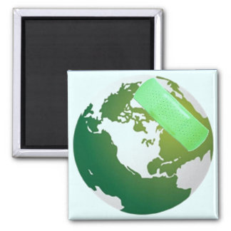Green Bandaided Earth 2 Inch Square Magnet