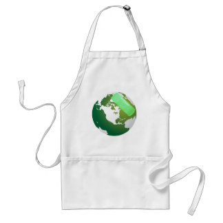 Green Bandaided Earth Adult Apron