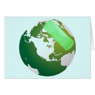Green Bandaided Earth Greeting Card