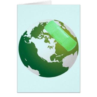 Green Bandaided Earth Card