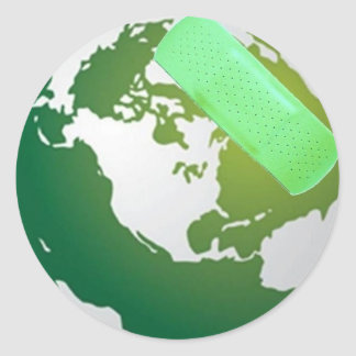 Green Bandaided Earth Classic Round Sticker