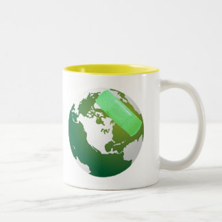 Green Bandaided Earth Cup