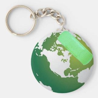 Green Bandaided Earth Keychains