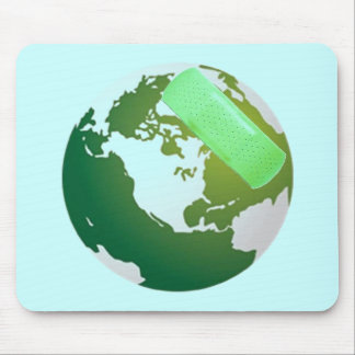 Green Bandaided Earth Mouse Pad