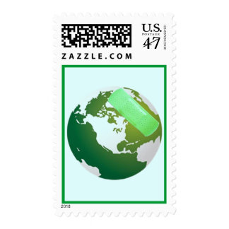 Green Bandaided Earth Postage Stamp
