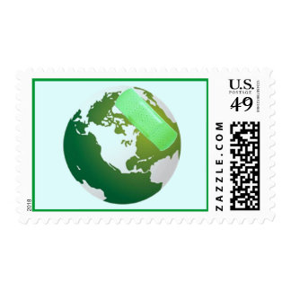 Green Bandaided Earth Stamp
