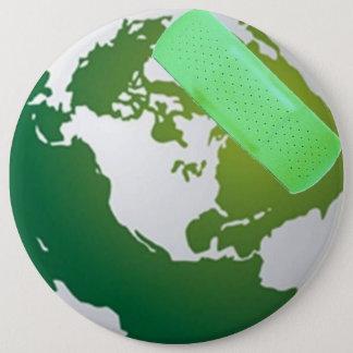 Green Bandaided Earth X-Large Pin