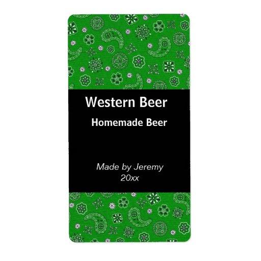 Green Bandana Beer Label Shipping Label