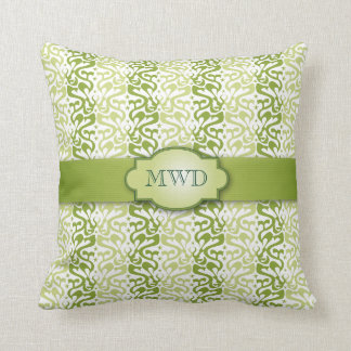 Green Banded Pattern Monogram Throw Pillows