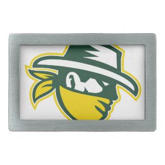 Green Bandit Mascot Rectangular Belt Buckle