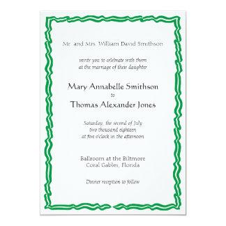 Green Banner Wedding Invitation