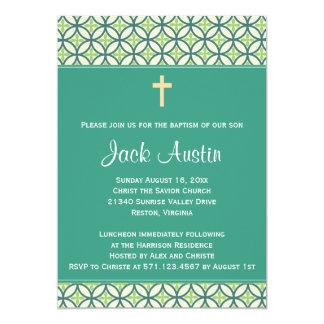 Green Baptism/Christening Invite