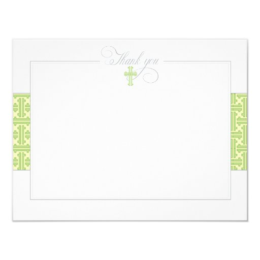 Green Baptismal Flat Thank You Note Card