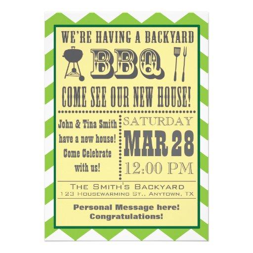 Green Barbecue Housewarming Invitation