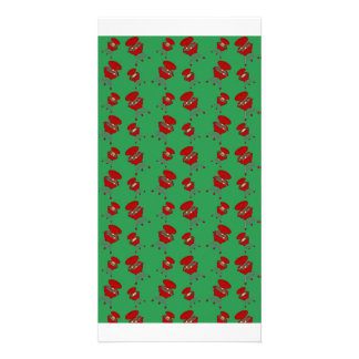 green barbeque pattern photo cards