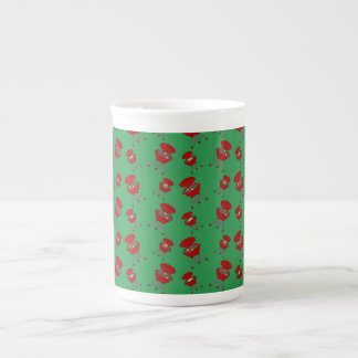 green barbeque pattern bone china mug