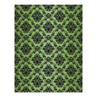 Green Baroque Black Lace Pattern Paper