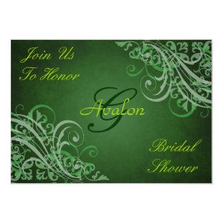 Green Baroque Swirls Bridal Shower Lime Invitation