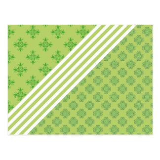 green baroque white stripes floral ornament clover postcard
