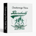 Green Baseball All Star T-shirts and Gifts Vinyl Binders