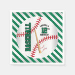 Green Baseball Birthday Design | Personalize Paper Napkin