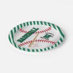 Green Baseball Birthday Design | Personalize Paper Plate
