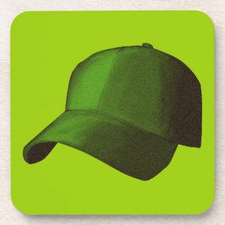 GREEN BASEBALL CAP GRAPHICS DRINK COASTER
