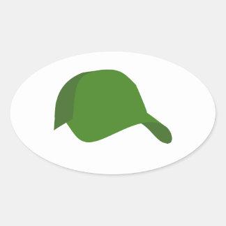 Green baseball cap oval sticker