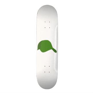 Green baseball cap skateboard deck