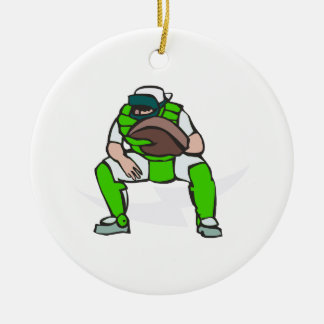 green baseball catcher ceramic ornament
