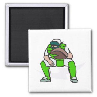 green baseball catcher magnet